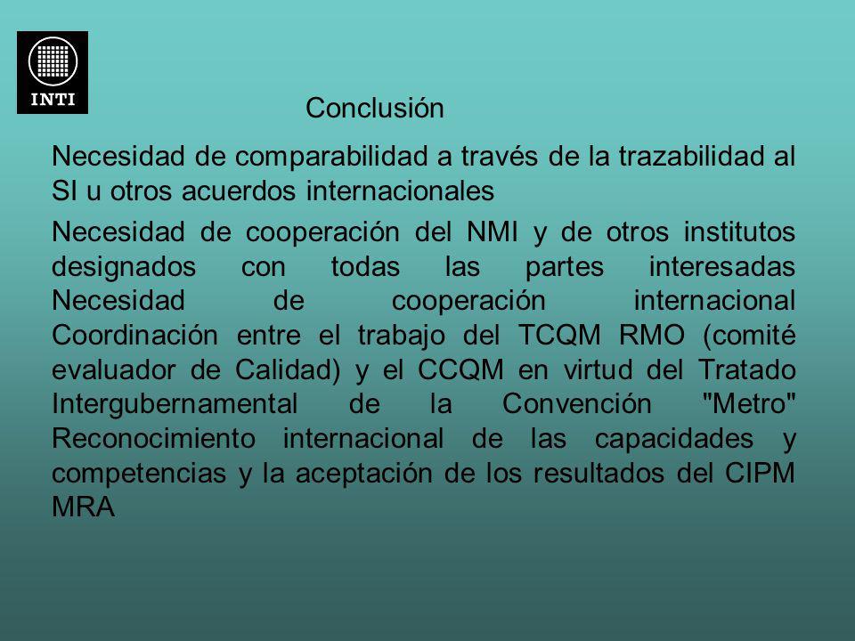 Conclusión Necesidad de comparabilidad a través de la trazabilidad al SI u otros acuerdos internacionales Necesidad de cooperación del NMI y de otros