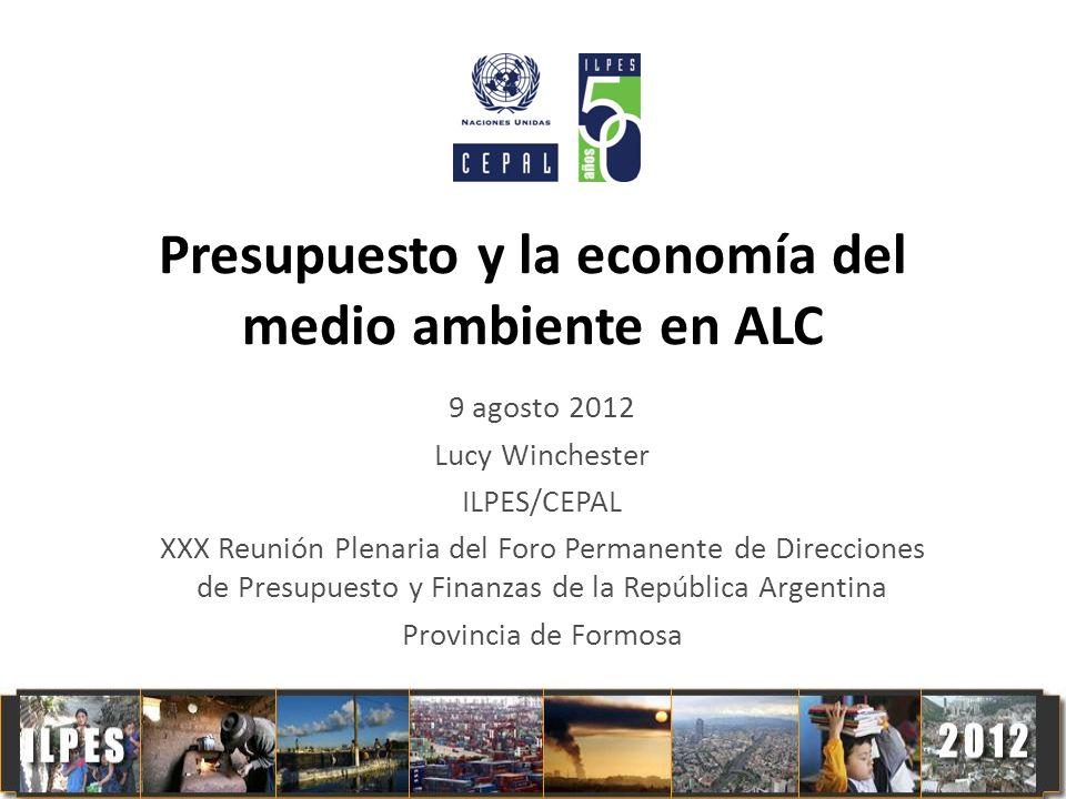 Presupuesto y la economía del medio ambiente en ALC 9 agosto 2012 Lucy Winchester ILPES/CEPAL XXX Reunión Plenaria del Foro Permanente de Direcciones