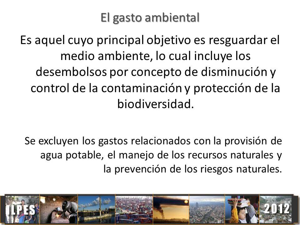 El gasto ambiental Es aquel cuyo principal objetivo es resguardar el medio ambiente, lo cual incluye los desembolsos por concepto de disminución y con
