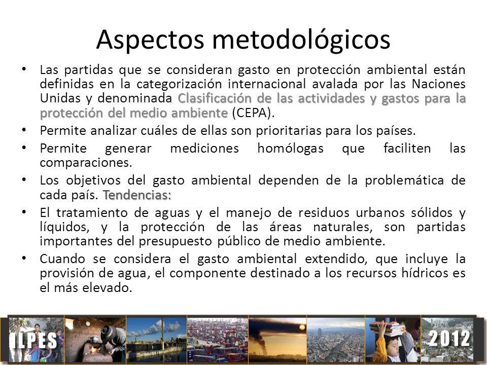 21 Aspectos metodológicos Clasificación de las actividades y gastos para la protección del medio ambiente Las partidas que se consideran gasto en prot