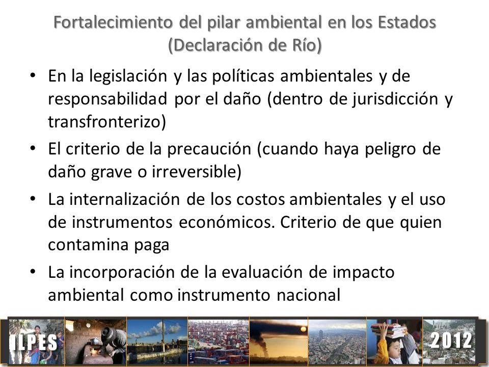 Fortalecimiento del pilar ambiental en los Estados (Declaración de Río) En la legislación y las políticas ambientales y de responsabilidad por el daño