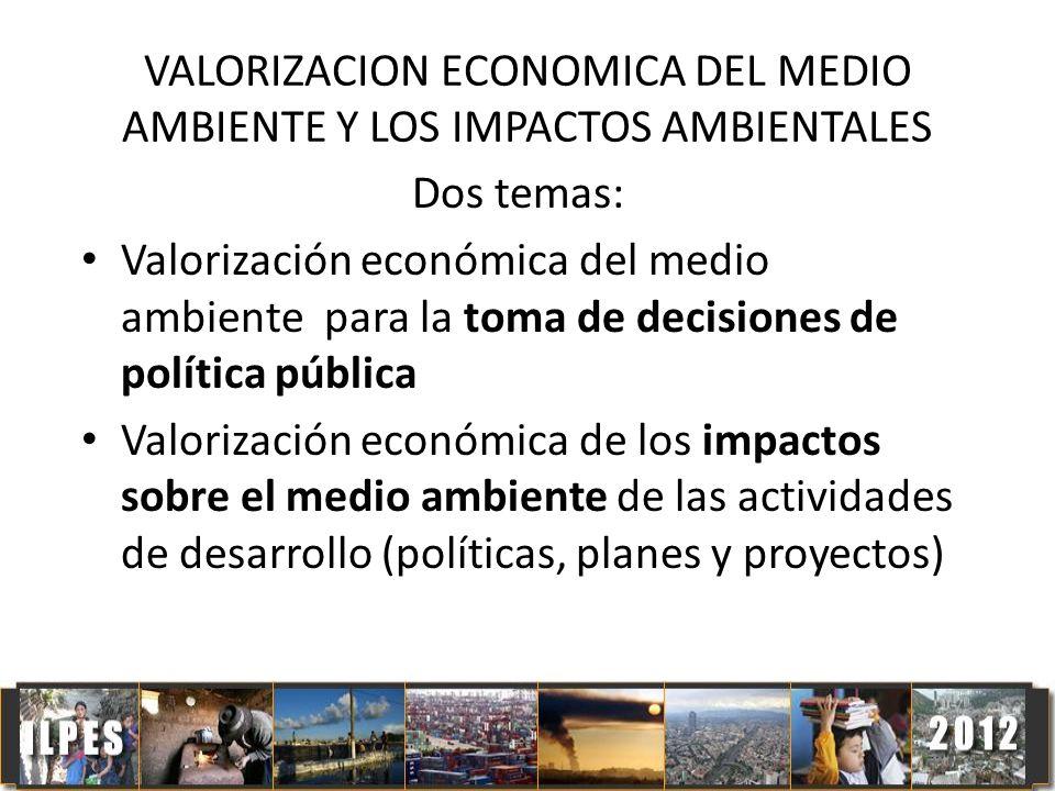VALORIZACION ECONOMICA DEL MEDIO AMBIENTE Y LOS IMPACTOS AMBIENTALES Dos temas: Valorización económica del medio ambiente para la toma de decisiones d