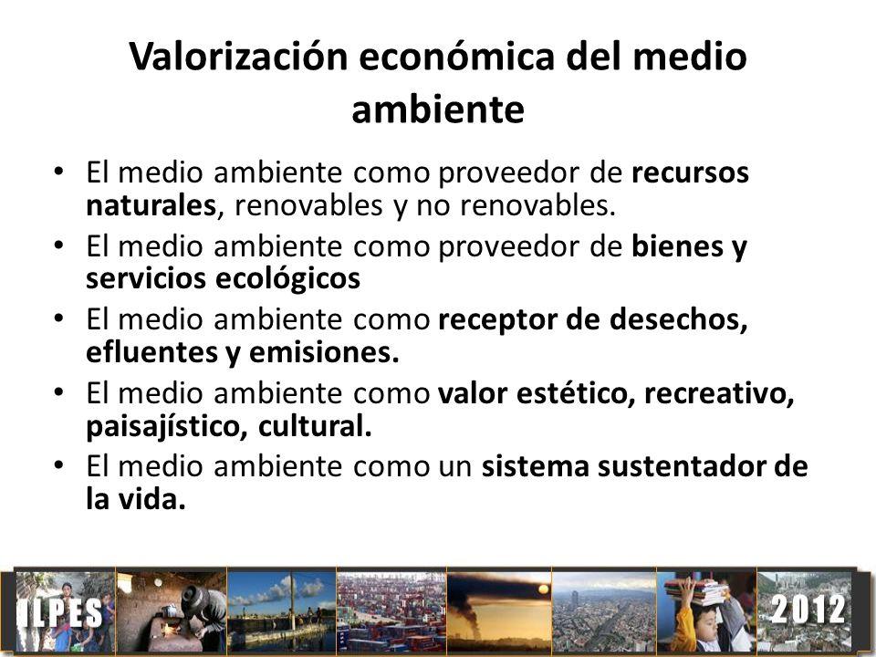 Valorización económica del medio ambiente El medio ambiente como proveedor de recursos naturales, renovables y no renovables. El medio ambiente como p