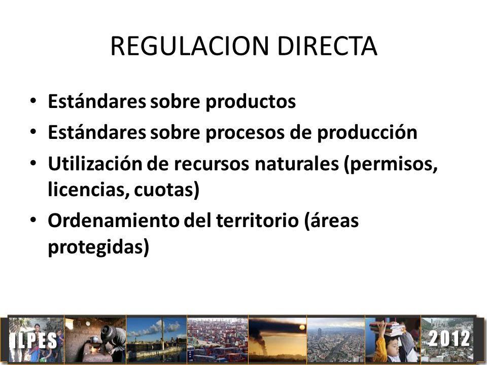 REGULACION DIRECTA Estándares sobre productos Estándares sobre procesos de producción Utilización de recursos naturales (permisos, licencias, cuotas)