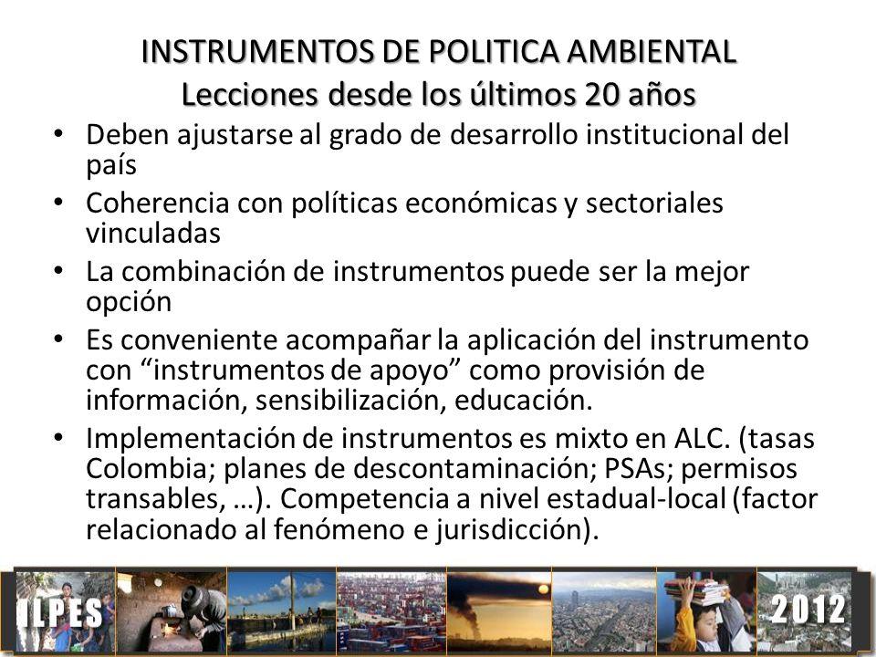 INSTRUMENTOS DE POLITICA AMBIENTAL Lecciones desde los últimos 20 años Deben ajustarse al grado de desarrollo institucional del país Coherencia con po