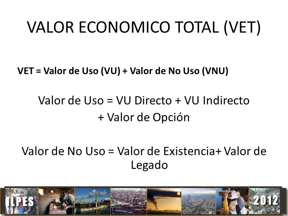 VALOR ECONOMICO TOTAL (VET) VET = Valor de Uso (VU) + Valor de No Uso (VNU) Valor de Uso = VU Directo + VU Indirecto + Valor de Opción Valor de No Uso