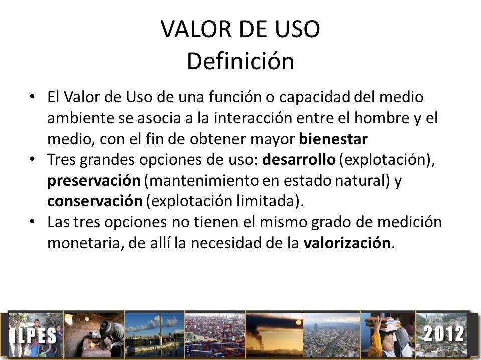 VALOR DE USO Definición El Valor de Uso de una función o capacidad del medio ambiente se asocia a la interacción entre el hombre y el medio, con el fi
