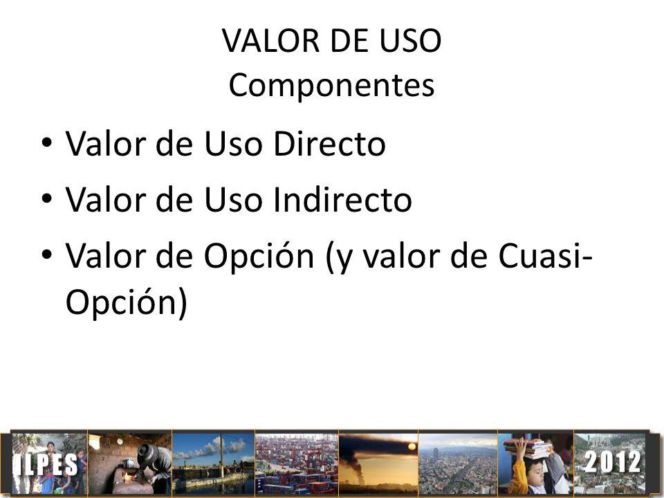 VALOR DE USO Componentes Valor de Uso Directo Valor de Uso Indirecto Valor de Opción (y valor de Cuasi- Opción)