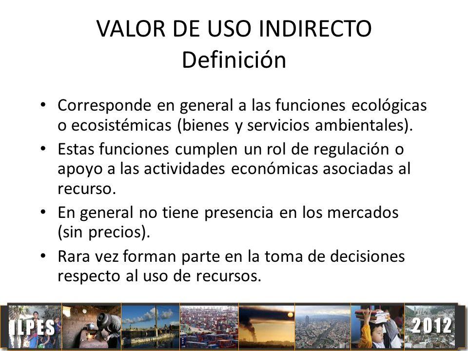 VALOR DE USO INDIRECTO Definición Corresponde en general a las funciones ecológicas o ecosistémicas (bienes y servicios ambientales). Estas funciones