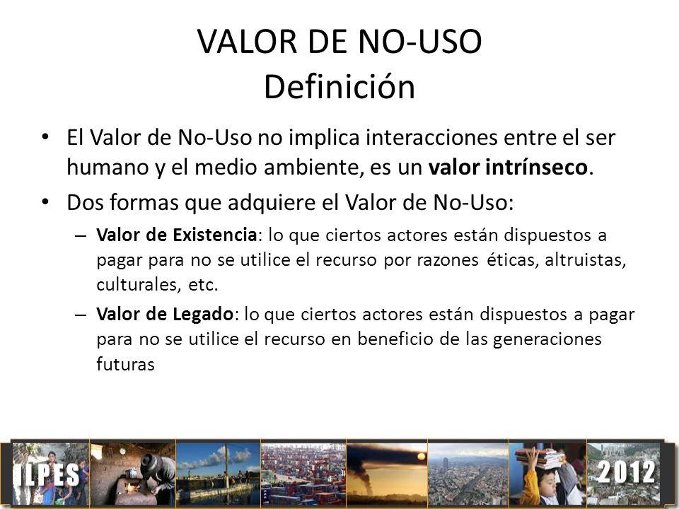 VALOR DE NO-USO Definición El Valor de No-Uso no implica interacciones entre el ser humano y el medio ambiente, es un valor intrínseco. Dos formas que