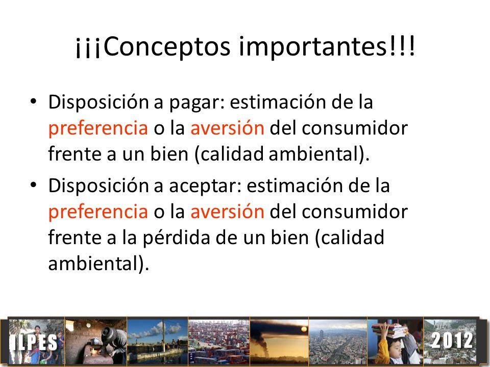¡¡¡Conceptos importantes!!! Disposición a pagar: estimación de la preferencia o la aversión del consumidor frente a un bien (calidad ambiental). Dispo