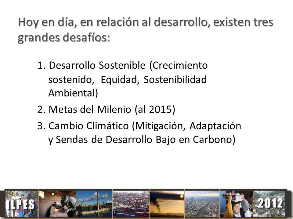 Hoy en día, en relación al desarrollo, existen tres grandes desafíos: 1. Desarrollo Sostenible (Crecimiento sostenido, Equidad, Sostenibilidad Ambient