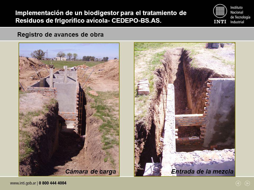 . Cámara de carga Entrada de la mezcla Registro de avances de obra Implementación de un biodigestor para el tratamiento de Residuos de frigorífico aví