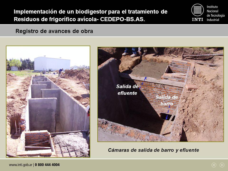 Cámaras de salida de barro y efluente Salida de barro Salida de efluente Registro de avances de obra Implementación de un biodigestor para el tratamie