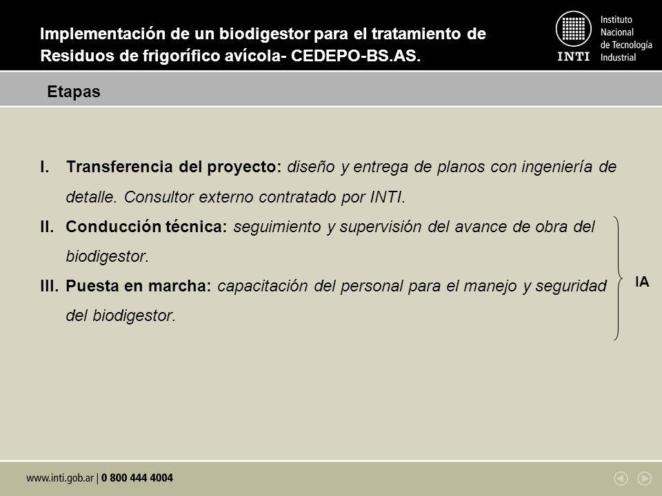I.Transferencia del proyecto: diseño y entrega de planos con ingeniería de detalle. Consultor externo contratado por INTI. II.Conducción técnica: segu