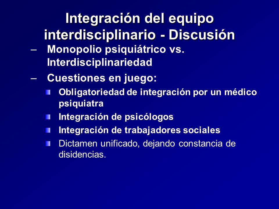 Integración del equipo interdisciplinario - Discusión – –Monopolio psiquiátrico vs.