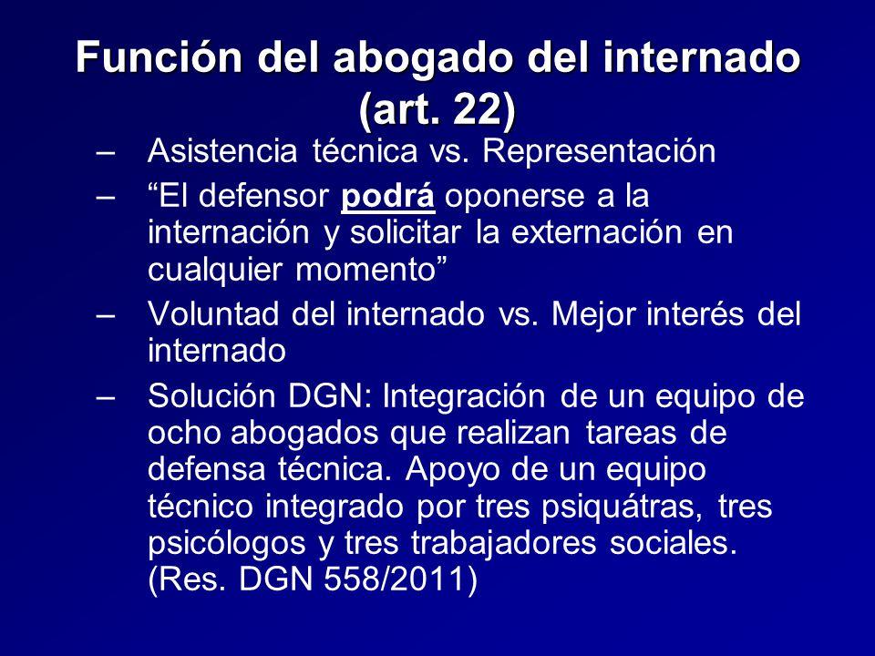 Función del abogado del internado (art. 22) – –Asistencia técnica vs.