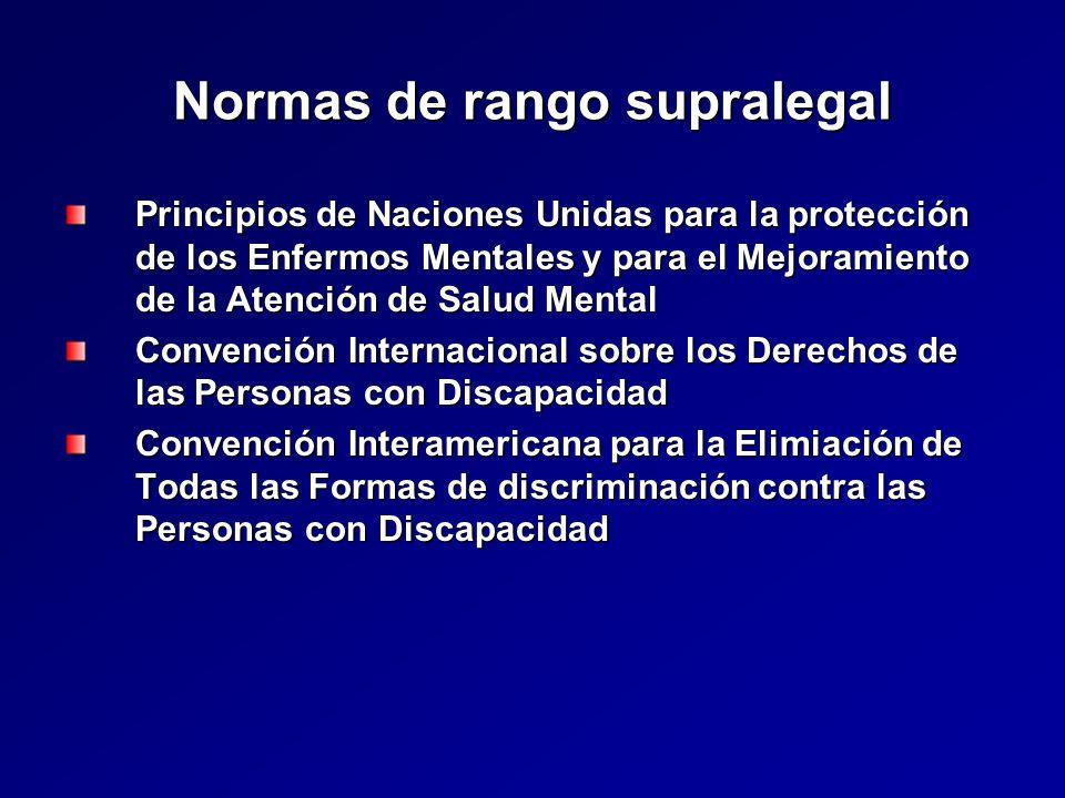 Normas de rango supralegal Principios de Naciones Unidas para la protección de los Enfermos Mentales y para el Mejoramiento de la Atención de Salud Mental Convención Internacional sobre los Derechos de las Personas con Discapacidad Convención Interamericana para la Elimiación de Todas las Formas de discriminación contra las Personas con Discapacidad