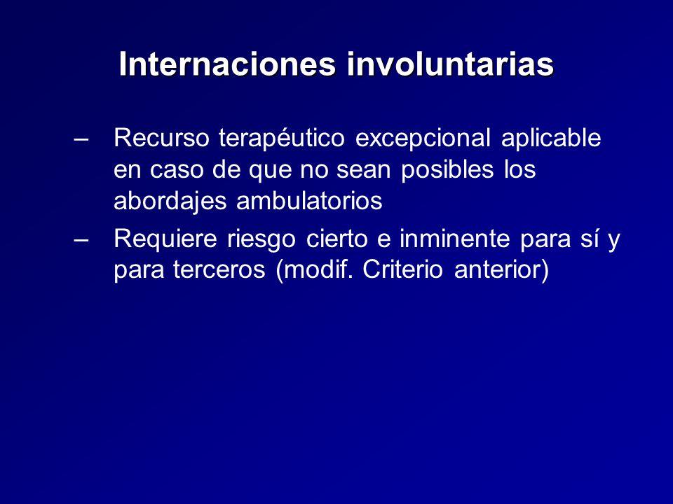 Internaciones involuntarias – –Recurso terapéutico excepcional aplicable en caso de que no sean posibles los abordajes ambulatorios – –Requiere riesgo cierto e inminente para sí y para terceros (modif.