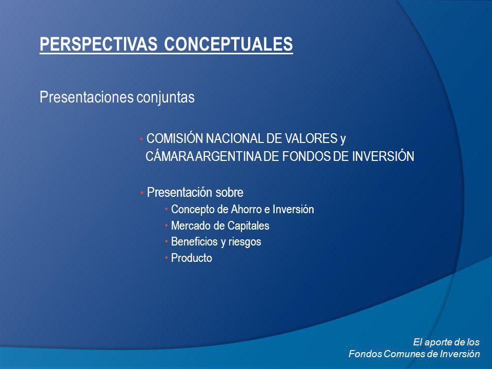 PERSPECTIVAS CONCEPTUALES Presentaciones conjuntas El aporte de los Fondos Comunes de Inversión COMISIÓN NACIONAL DE VALORES y CÁMARA ARGENTINA DE FONDOS DE INVERSIÓN Presentación sobre Concepto de Ahorro e Inversión Mercado de Capitales Beneficios y riesgos Producto