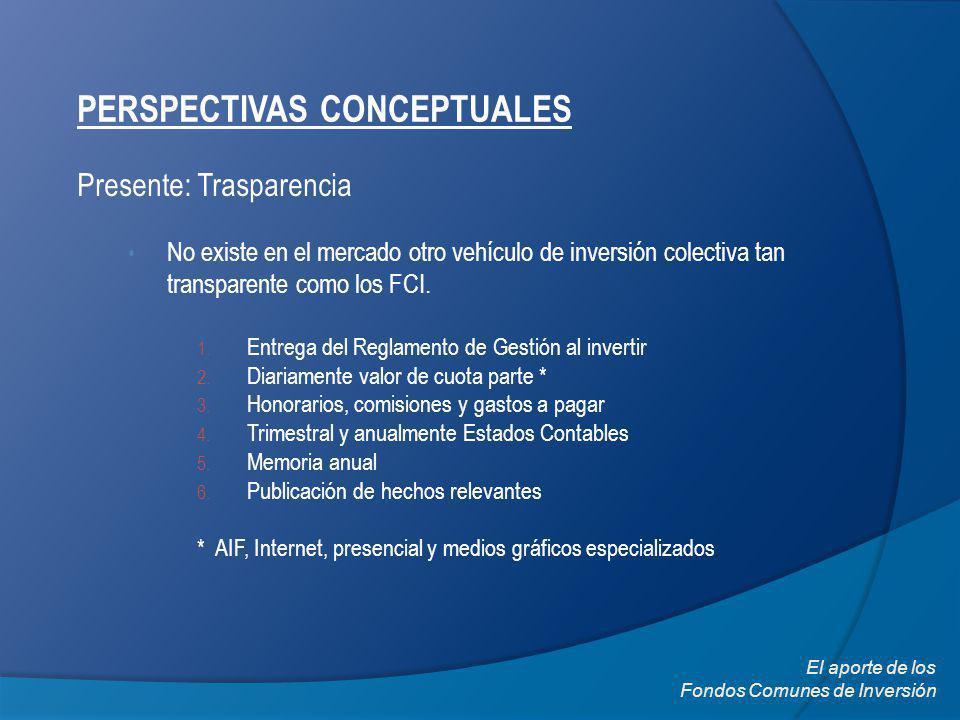 PERSPECTIVAS CONCEPTUALES Presente: Trasparencia No existe en el mercado otro vehículo de inversión colectiva tan transparente como los FCI. 1. Entreg