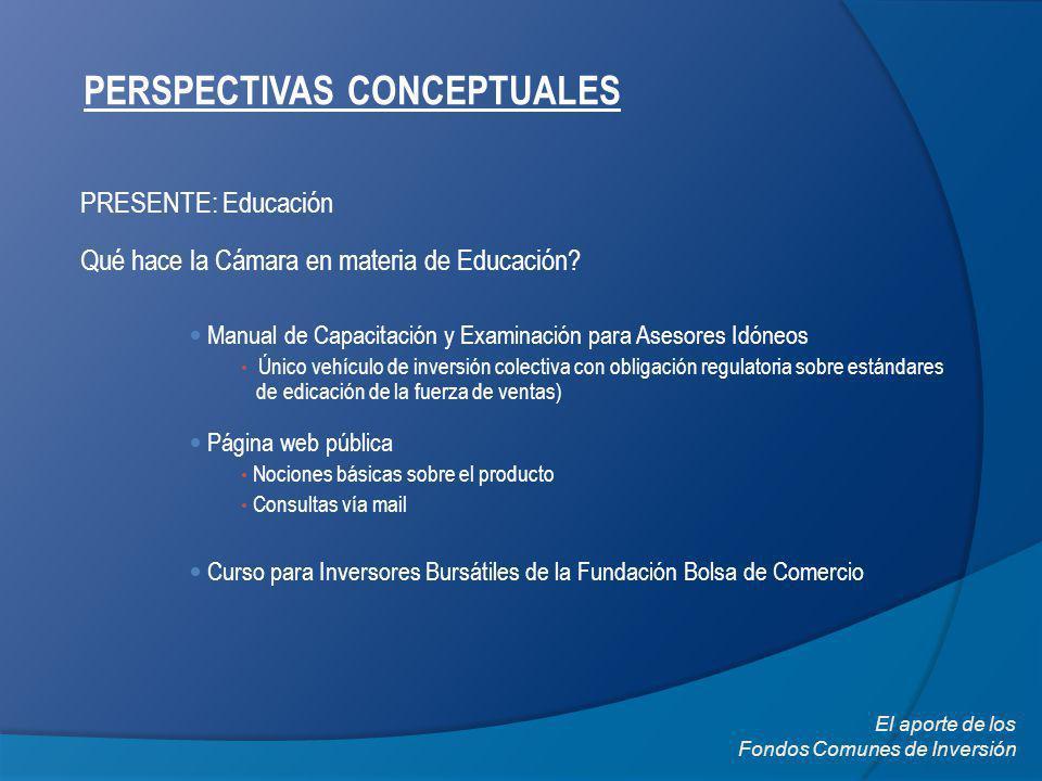 PERSPECTIVAS CONCEPTUALES PRESENTE: Educación Qué hace la Cámara en materia de Educación? El aporte de los Fondos Comunes de Inversión Manual de Capac