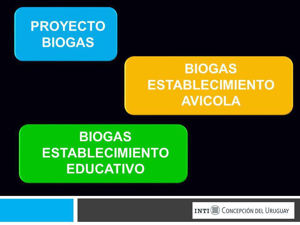 PROYECTO BIOGAS BIOGAS ESTABLECIMIENTO AVICOLA BIOGAS ESTABLECIMIENTO EDUCATIVO