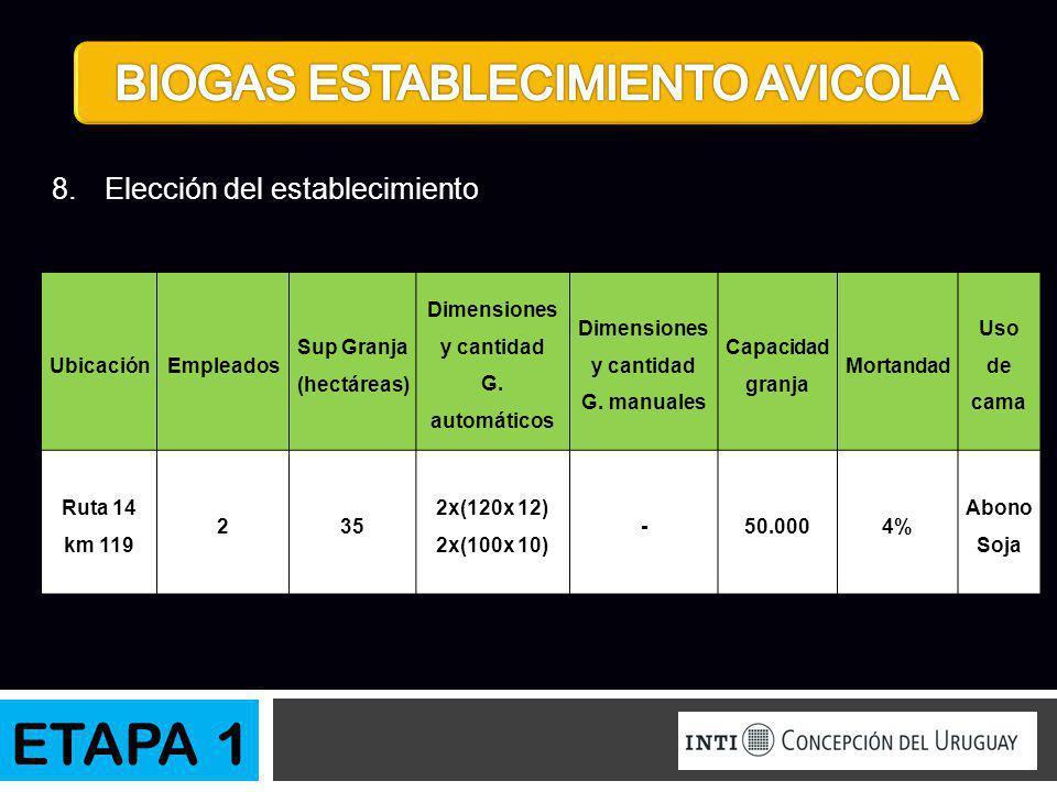 UbicaciónEmpleados Sup Granja (hectáreas) Dimensiones y cantidad G. automáticos Dimensiones y cantidad G. manuales Capacidad granja Mortandad Uso de c