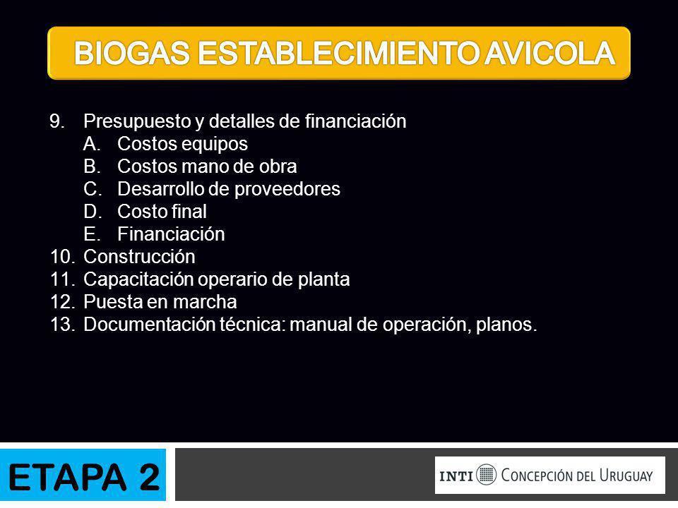 9.Presupuesto y detalles de financiación A.Costos equipos B.Costos mano de obra C.Desarrollo de proveedores D.Costo final E.Financiación 10.Construcci