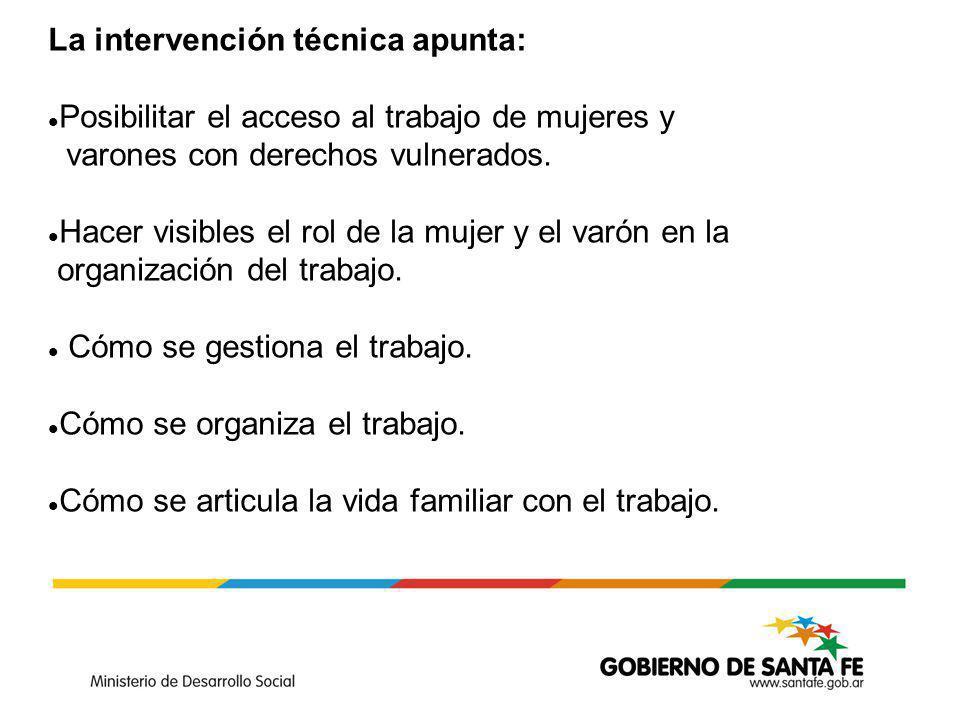 La intervención técnica apunta: Posibilitar el acceso al trabajo de mujeres y varones con derechos vulnerados.