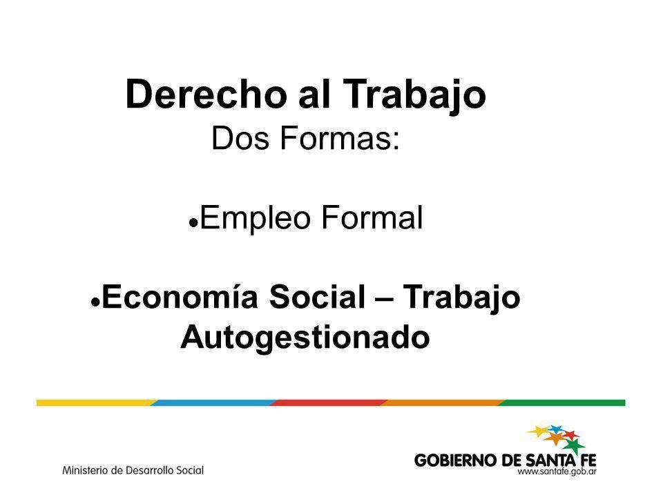Derecho al Trabajo Dos Formas: Empleo Formal Economía Social – Trabajo Autogestionado