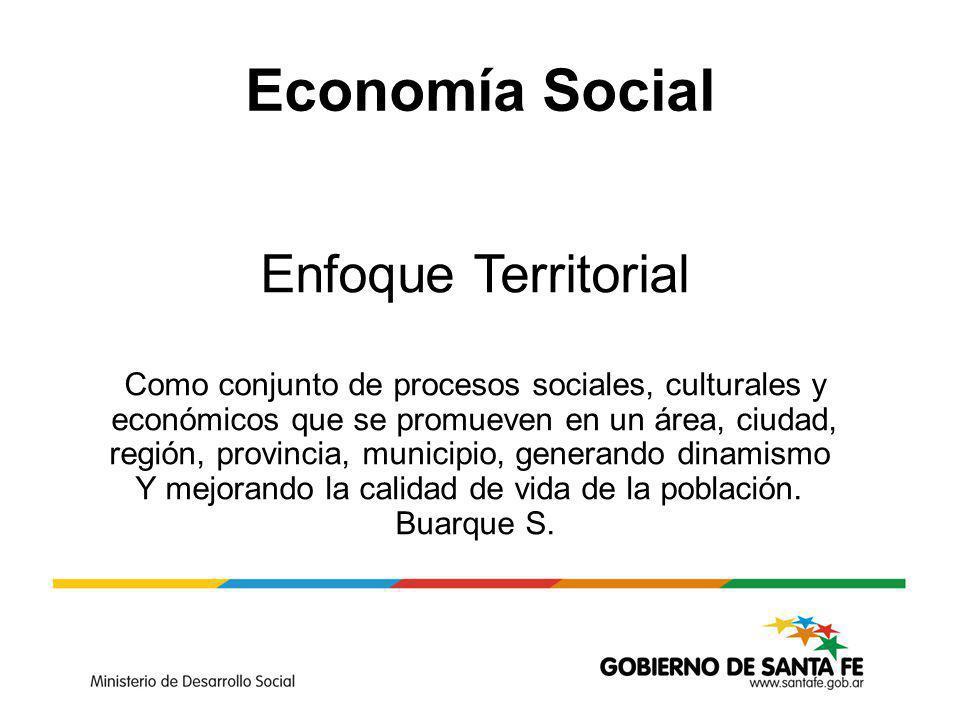 Economía Social Enfoque Territorial Como conjunto de procesos sociales, culturales y económicos que se promueven en un área, ciudad, región, provincia, municipio, generando dinamismo Y mejorando la calidad de vida de la población.
