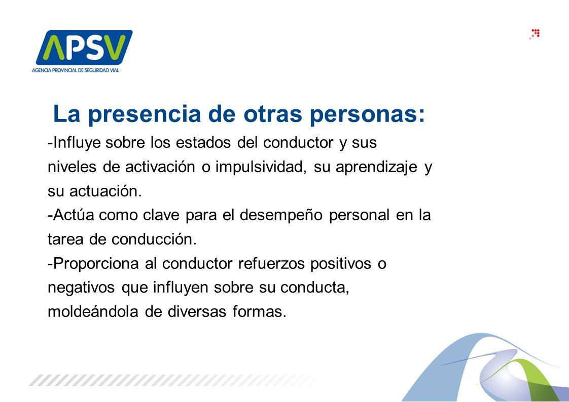 3 La presencia de otras personas: -Influye sobre los estados del conductor y sus niveles de activación o impulsividad, su aprendizaje y su actuación.