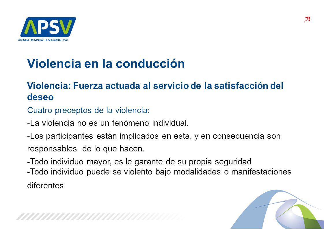 3 Violencia en la conducción Violencia: Fuerza actuada al servicio de la satisfacción del deseo Cuatro preceptos de la violencia: -La violencia no es
