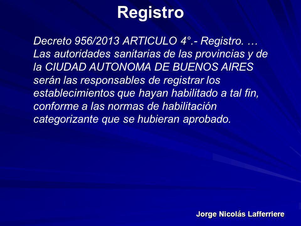 Jorge Nicolás Lafferriere Registro Decreto 956/2013 ARTICULO 4°.- Registro. … Las autoridades sanitarias de las provincias y de la CIUDAD AUTONOMA DE