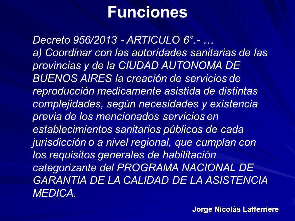 Jorge Nicolás Lafferriere Funciones Decreto 956/2013 - ARTICULO 6°.- … a) Coordinar con las autoridades sanitarias de las provincias y de la CIUDAD AU