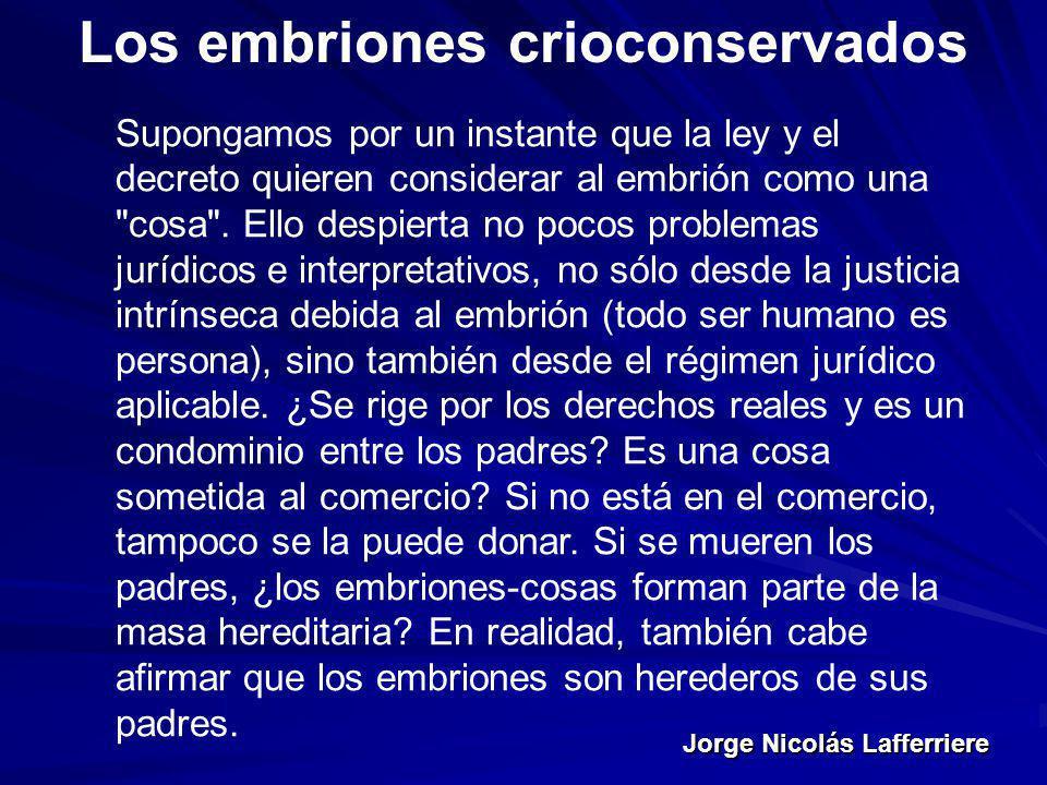Jorge Nicolás Lafferriere Los embriones crioconservados Supongamos por un instante que la ley y el decreto quieren considerar al embrión como una