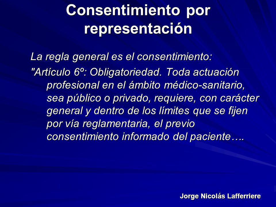 Jorge Nicolás Lafferriere Consentimiento por representación La regla general es el consentimiento: