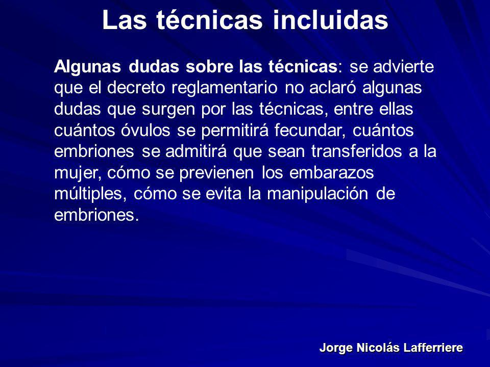 Jorge Nicolás Lafferriere Las técnicas incluidas Algunas dudas sobre las técnicas: se advierte que el decreto reglamentario no aclaró algunas dudas qu