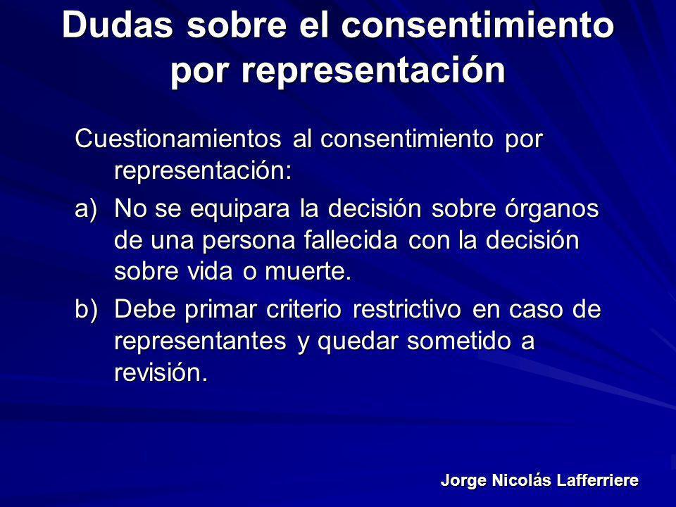 Jorge Nicolás Lafferriere Dudas sobre el consentimiento por representación Cuestionamientos al consentimiento por representación: a)No se equipara la
