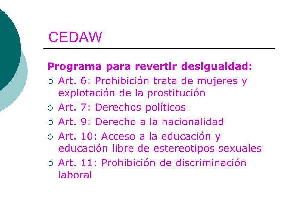 CEDAW Programa para revertir desigualdad: Art. 6: Prohibición trata de mujeres y explotación de la prostitución Art. 7: Derechos políticos Art. 9: Der
