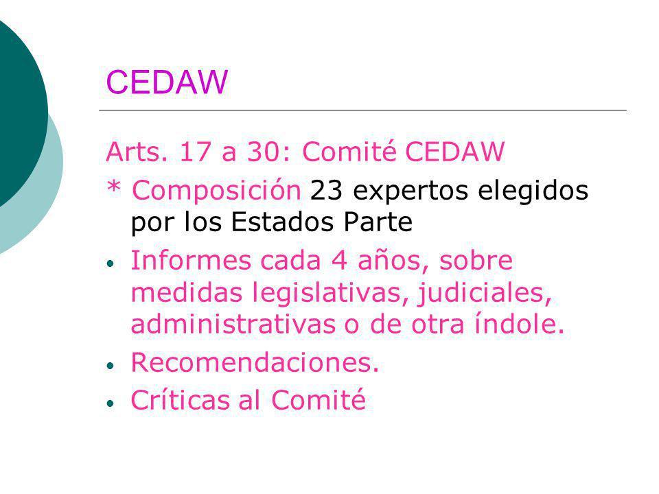 CEDAW Arts. 17 a 30: Comité CEDAW * Composición 23 expertos elegidos por los Estados Parte Informes cada 4 años, sobre medidas legislativas, judiciale