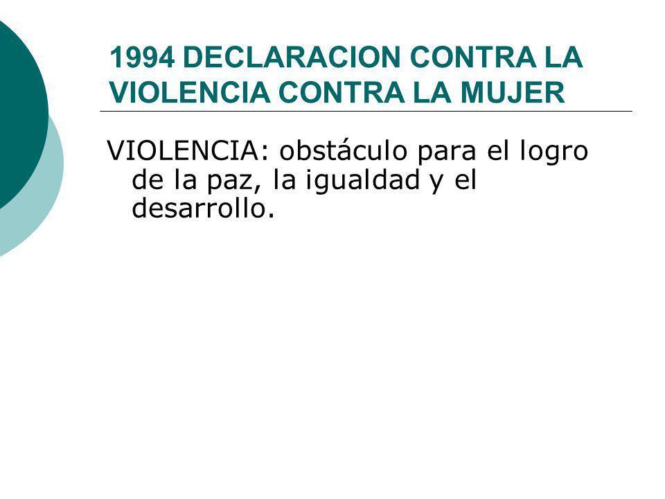 1994 DECLARACION CONTRA LA VIOLENCIA CONTRA LA MUJER VIOLENCIA: obstáculo para el logro de la paz, la igualdad y el desarrollo.
