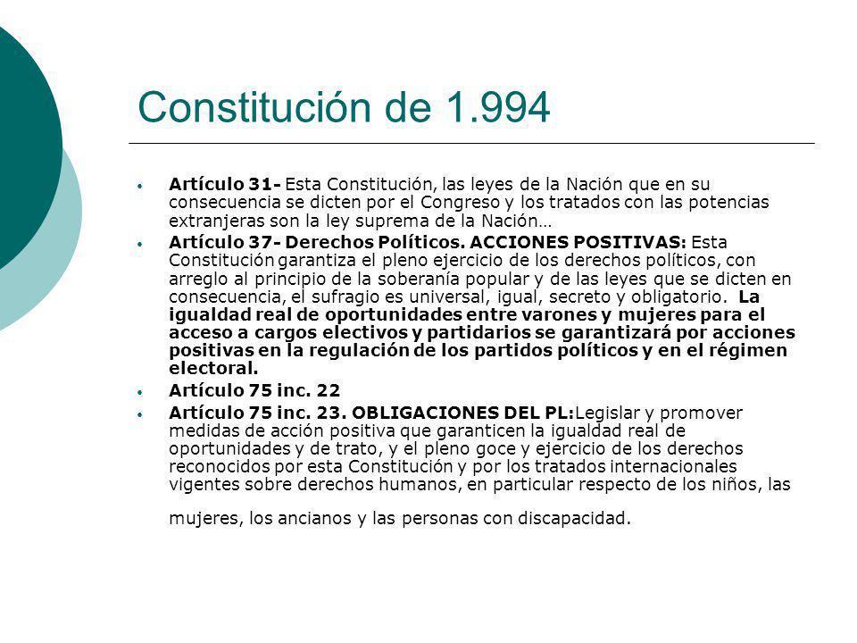 Constitución de 1.994 Artículo 31- Esta Constitución, las leyes de la Nación que en su consecuencia se dicten por el Congreso y los tratados con las p