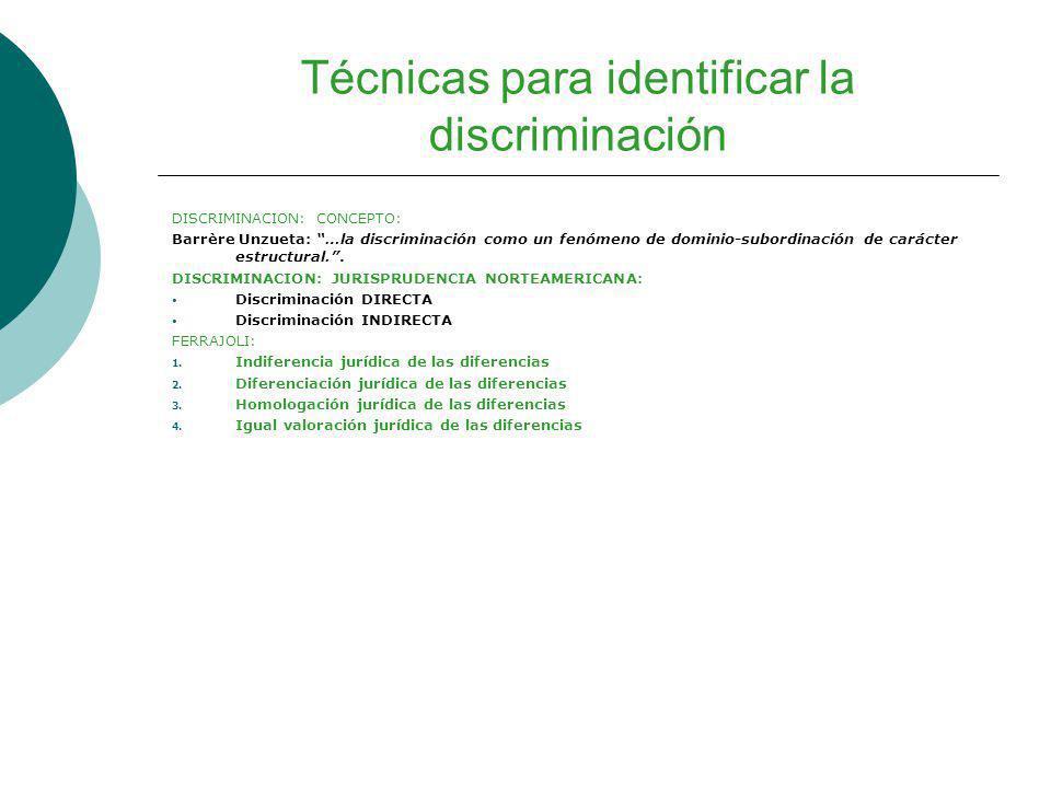 Técnicas para identificar la discriminación DISCRIMINACION: CONCEPTO: Barrère Unzueta: …la discriminación como un fenómeno de dominio-subordinación de