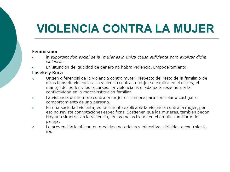 VIOLENCIA CONTRA LA MUJER Feminismo: la subordinación social de la mujer es la única causa suficiente para explicar dicha violencia. En situación de i