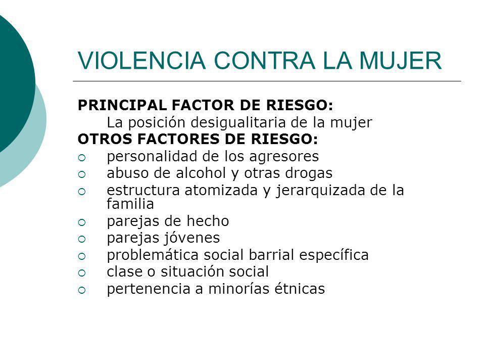 VIOLENCIA CONTRA LA MUJER PRINCIPAL FACTOR DE RIESGO: La posición desigualitaria de la mujer OTROS FACTORES DE RIESGO: personalidad de los agresores a
