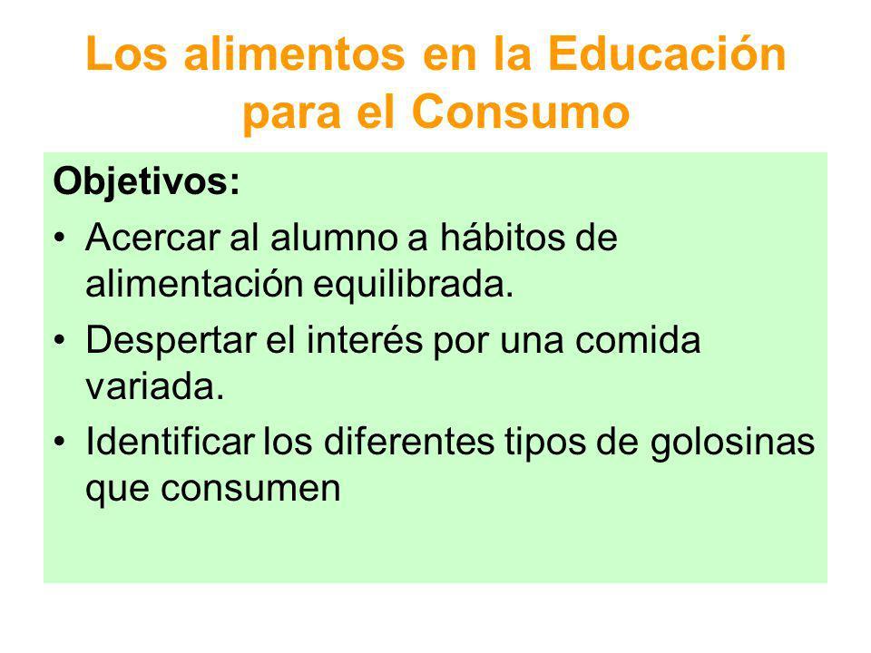 Los alimentos en la Educación para el Consumo Objetivos: Reconocer la procedencia de los alimentos Acercar al alumno a hábitos de compra equilibrada de alimentos Manipular y elaborar alimentos