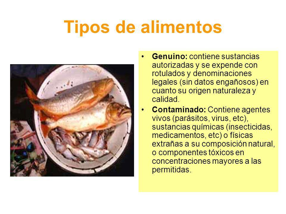 Tipos de alimentos Adulterado: Está privado de sus elementos característicos o estos fueron reemplazados por sustancias extrañas o no permitidas.