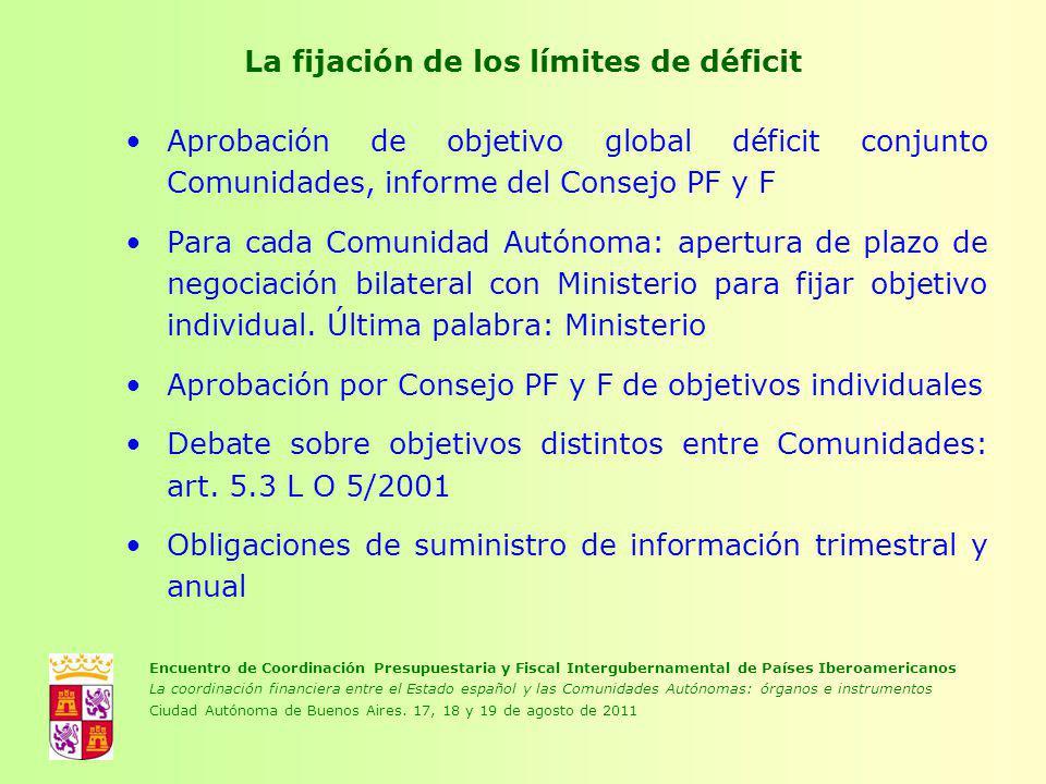 La fijación de los límites de déficit Aprobación de objetivo global déficit conjunto Comunidades, informe del Consejo PF y F Para cada Comunidad Autón